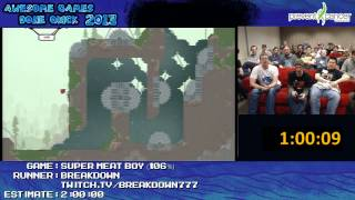 super meat boy speed run in 1 47 36 live 106 expert remix by breakdown agdq 2013