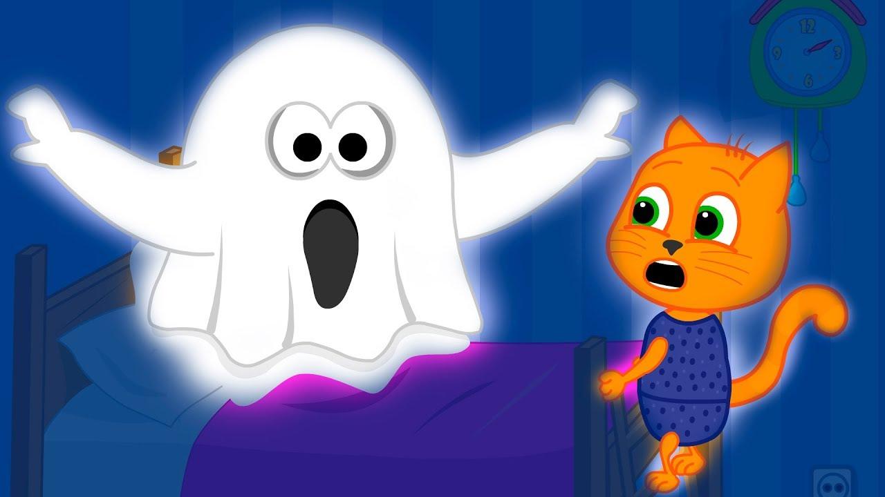Familia De Gatos Fantasma Magico Dibujos Animados Para Niños