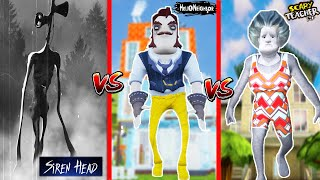 SÜPER KAPIŞMA - EN ÇİRKİN HANGİSİ ?  😲Kurt Adam Hello Neighbor vs Siren Head vs Scary Teacher