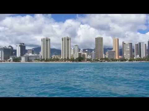 Honolulu skyline from catamaran ride
