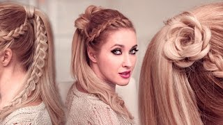 High ponytail hairstyles tutorial for long hair: FLOWER + braided goddess UPDO tutorial