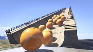 Race Against The Big Orange Balls Challenge! (gta 5 Fun Races)