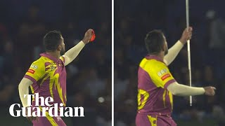 South African spin bowler Tabraiz Shamsi celebrates wicket with magic trick