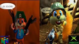 Conker Comparison (N64/Xbox) It's War! (60fps)