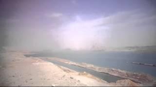 شاهد تكريك قناة السويس تحت العواصف الترابية أبريل 2015