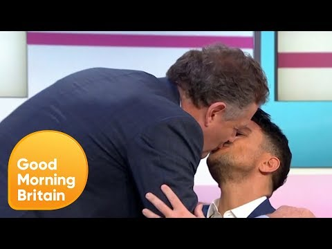 Piers and Peter Andre Engage in a Soft Kiss on the Lips | Good Morning Britain
