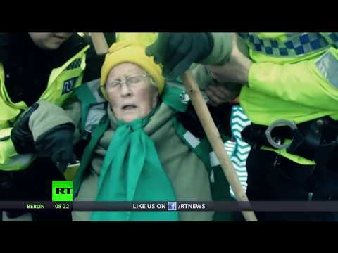 Iron Grip Of Law: UK Police drag 85yo disabled woman across street at peaceful protest