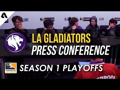 Los Angeles Gladiators Overwatch League Quarterfinals Playoffs Press Conference thumbnail