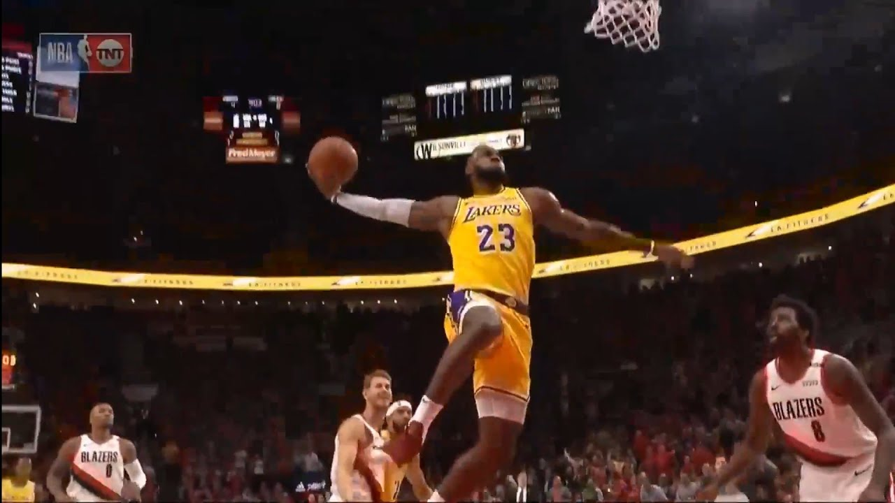 59b6685f372 LeBron James First Points As A Laker - YouTube