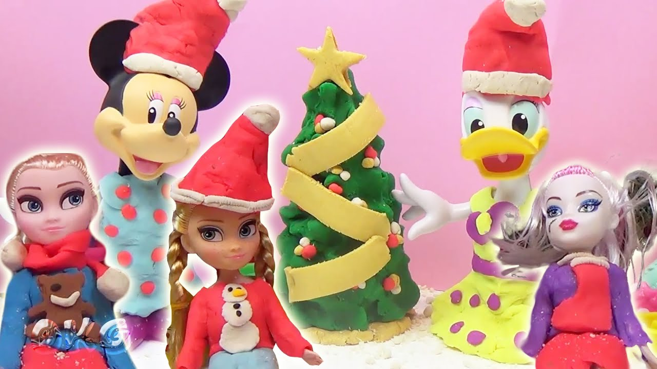 Christmas Play Doh Frozen Dress Up Anna Elsa Minnie Mouse Daisy Duck ...