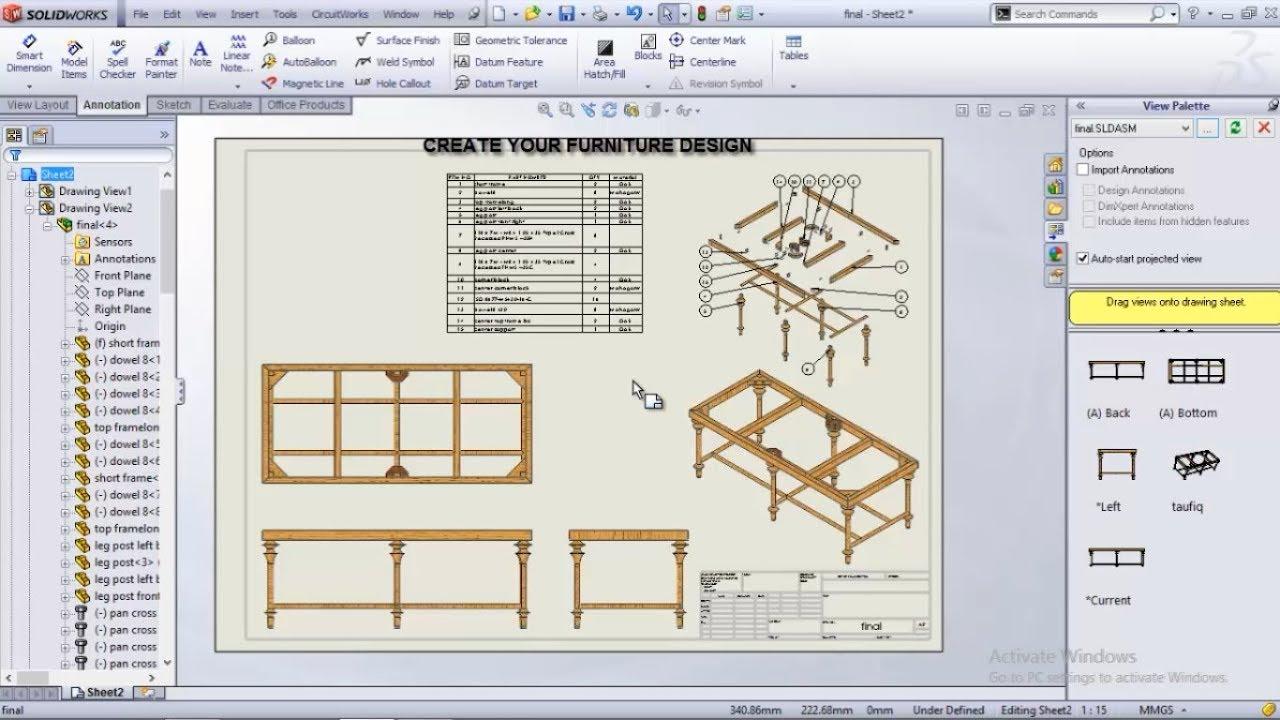 Furniture In Solidworks 3