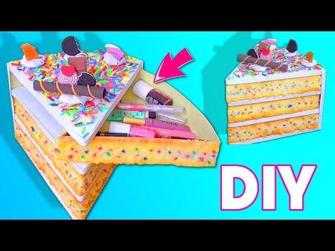 DIY / Tutorial:  Secret Jewelry Box CAKE | DESK organizer with cardboard