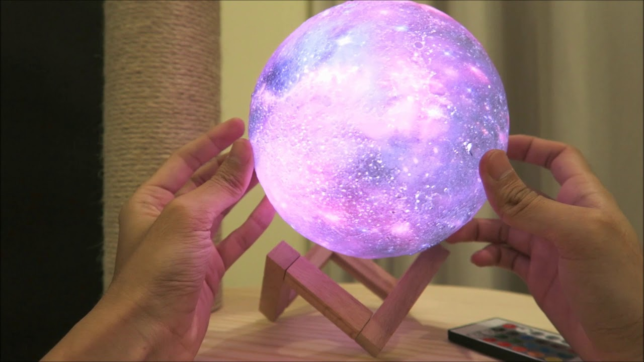 3d Printed Galaxy Moon Lamp Led Lights Color Switch Design Home Decor Youtube