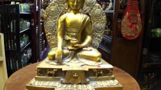 Brass Golden Gilt Bhaisajyaguru Buddha Statue S1999m