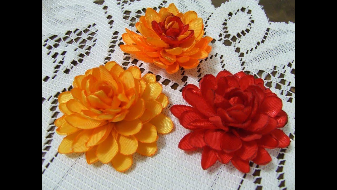 Цветы из атласных лент тонких
