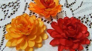 Цветы из атласной ленты Цветок из узкой ленты своими руками