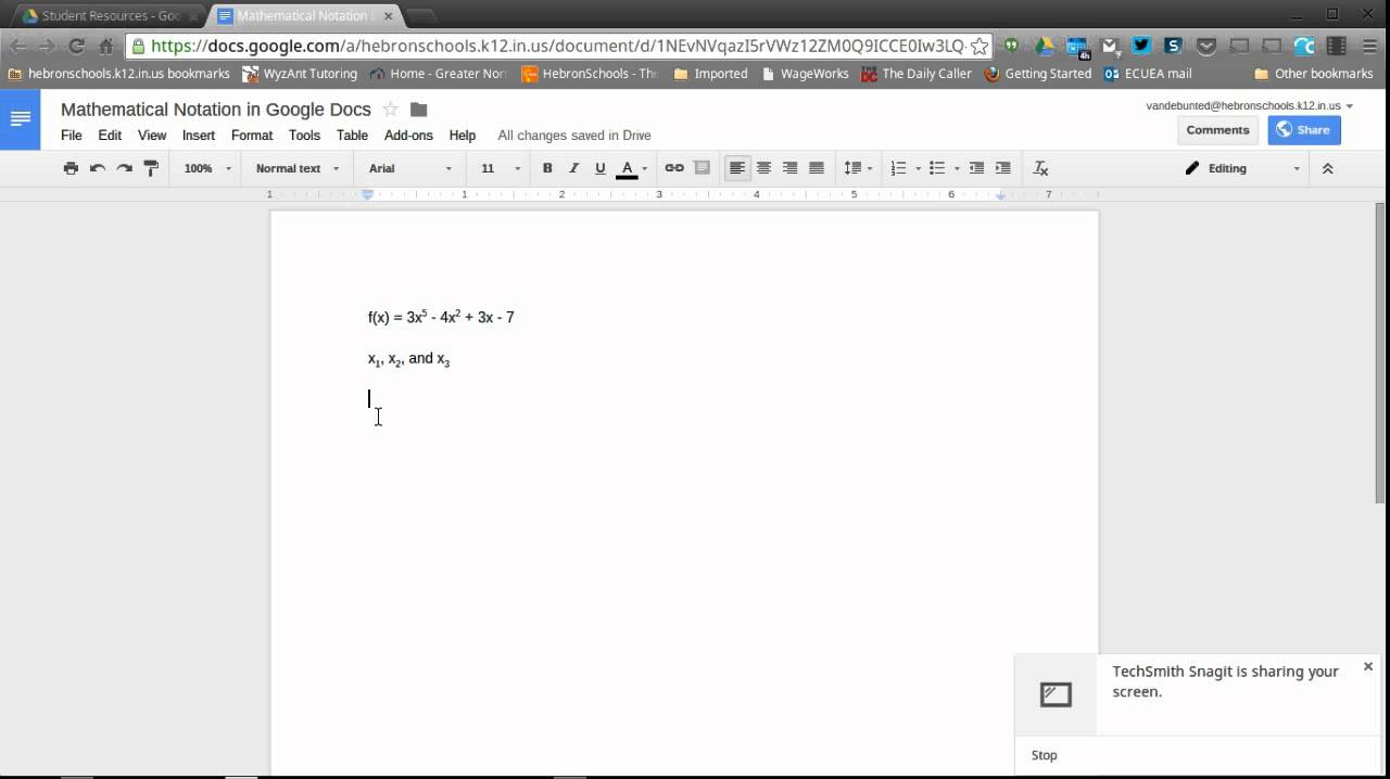 Inserting Mathematical Notation Into Google Docs Part 1 Youtube