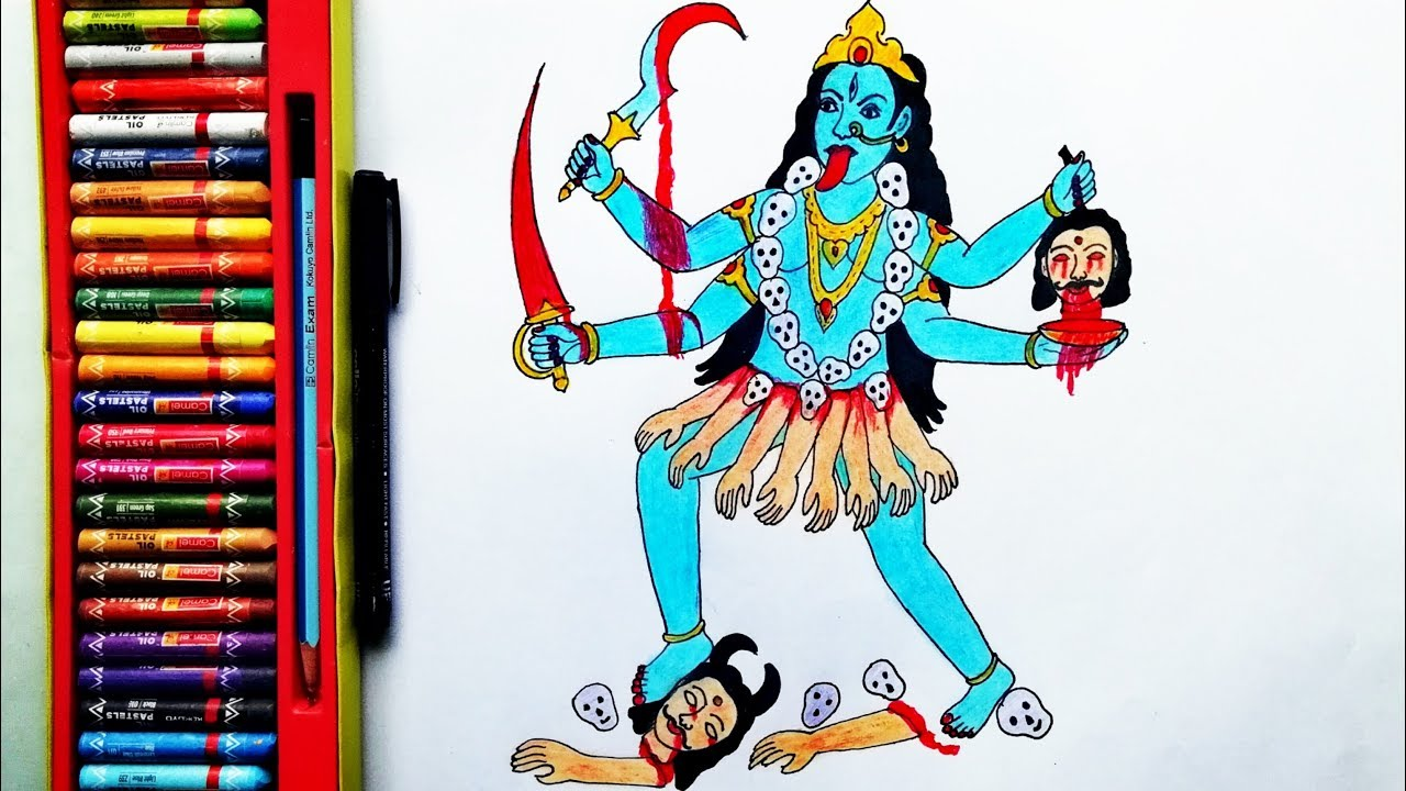 How To Draw Maa Kali Step By Step Mahakali Drawing By Drawing Art