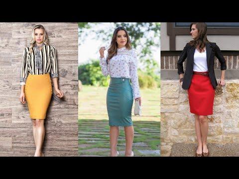 Women Office Wear Knee Pencil Skirt N Tops Collection / Stylish Women Office Wear