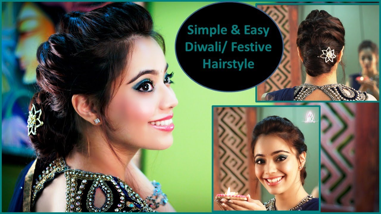 Simple Amp Easy Diwali Festive Party Updo Hairstyle English