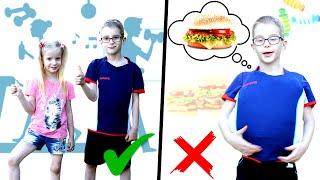 Вика помогает брату похудеть. Healthy food