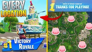 """""""Dance in front of different birthday cakes"""" ALL CAKE LOCATIONS! - Fortnite Birthday Challenges"""