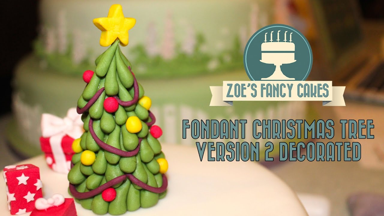 fondant christmas tree tutorial version 2 decorated cake topper decorating how to tutorial - Fancy Christmas Tree