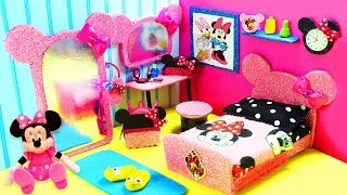 DIY Miniature Minnie Mouse Dollhouse Bedroom for Barbie -  Make a Miniature Room  + Accessories