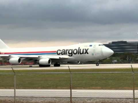 Cargolux Airlines Boeing 747-400F Departing Miami - January 29, 2012