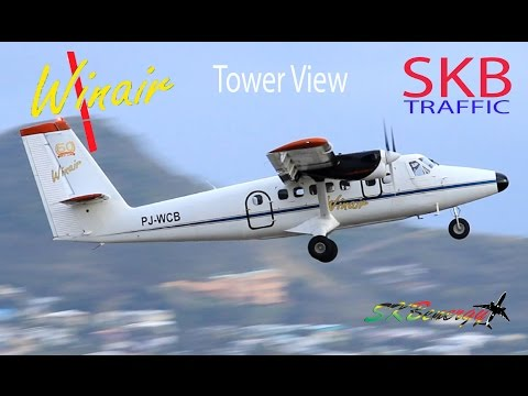 Winair Twin Otter - Tower View action @ St. Kitts Robert L. Bradshaw Int'l Airport