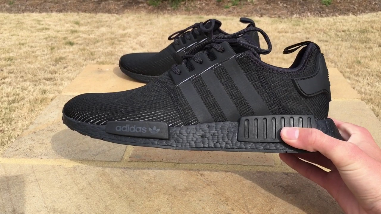 new product d4050 4d050 Adidas Triple Black NMD Reflective On Foot and Review