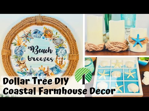 Dollar Tree DIY | DIY Coastal Farmhouse Decor | DIY Coastal Decor Ideas | DIY Nautical Decor