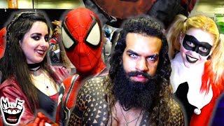 Marvel vs DC Mayhem at COMIC CON! Spider-Man Harley Quinn Joker Avengers - MELF