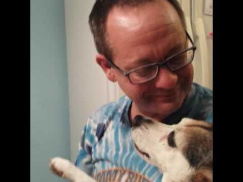 Rosie the Beagle kisses Brian Moran.