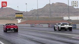 DRAGRACE | Corvette C7 Stingray vs. Corvette C7 ZO6 | 1/4 Mile dragrace | FuelRun Las Vegas