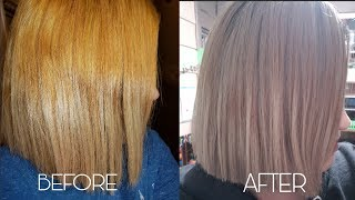 how to tone brassy hair with wella t14 050