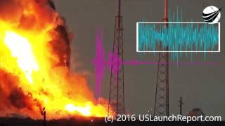 SpaceX - Anomaly - AMOS-6 - Explosion - 09-01-2016- 5 Sounds frequency analysis 4K UHD Zoom
