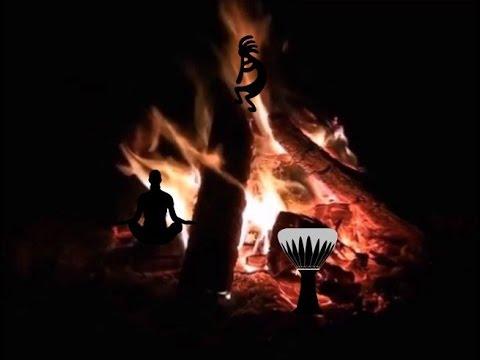 Night Fire w/ Tribal Rhythm - Meditation for stress reduction - 30 minutes