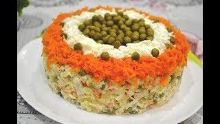 """Салат """"Оливье"""" рецепт с мясом. Красивая подача на праздничный стол."""