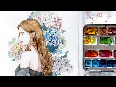 Girl with Hydrangea - Watercolor Painting Timelapse