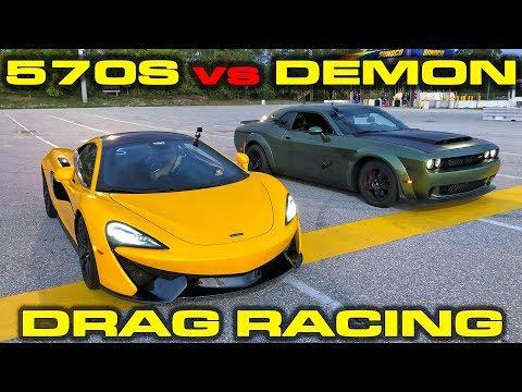 840HP Dodge Demon vs 562HP McLaren 570S Drag Racing 1/4 Mile