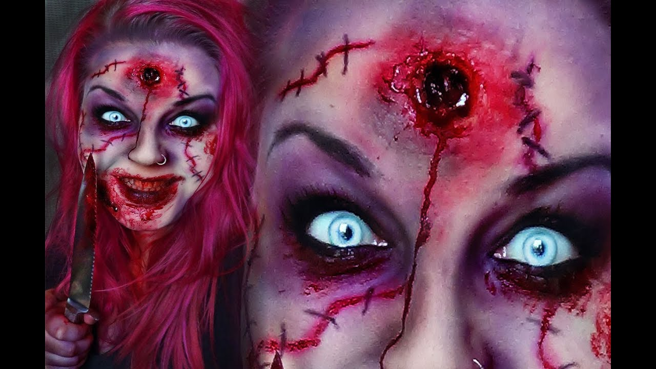 Horror Make-Up SCARY CREEPY SCAR ZOMBIE HEADSHOT TUTORIAL ...