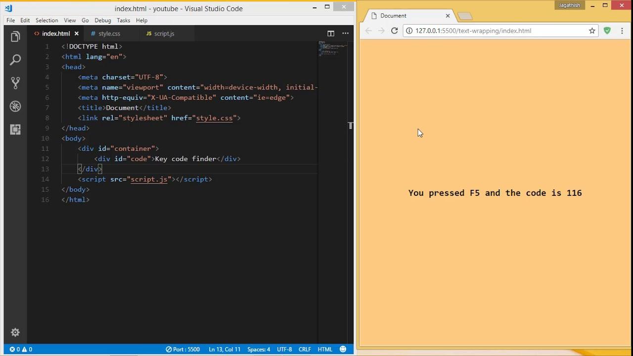 Key code finder in JavaScript