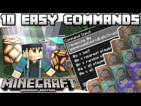 Minecraft Bedrock - TOP 10 COOL & EASY COMMANDS - Tutorial - PS4 , MCPE , Xbox , Windows & Switch