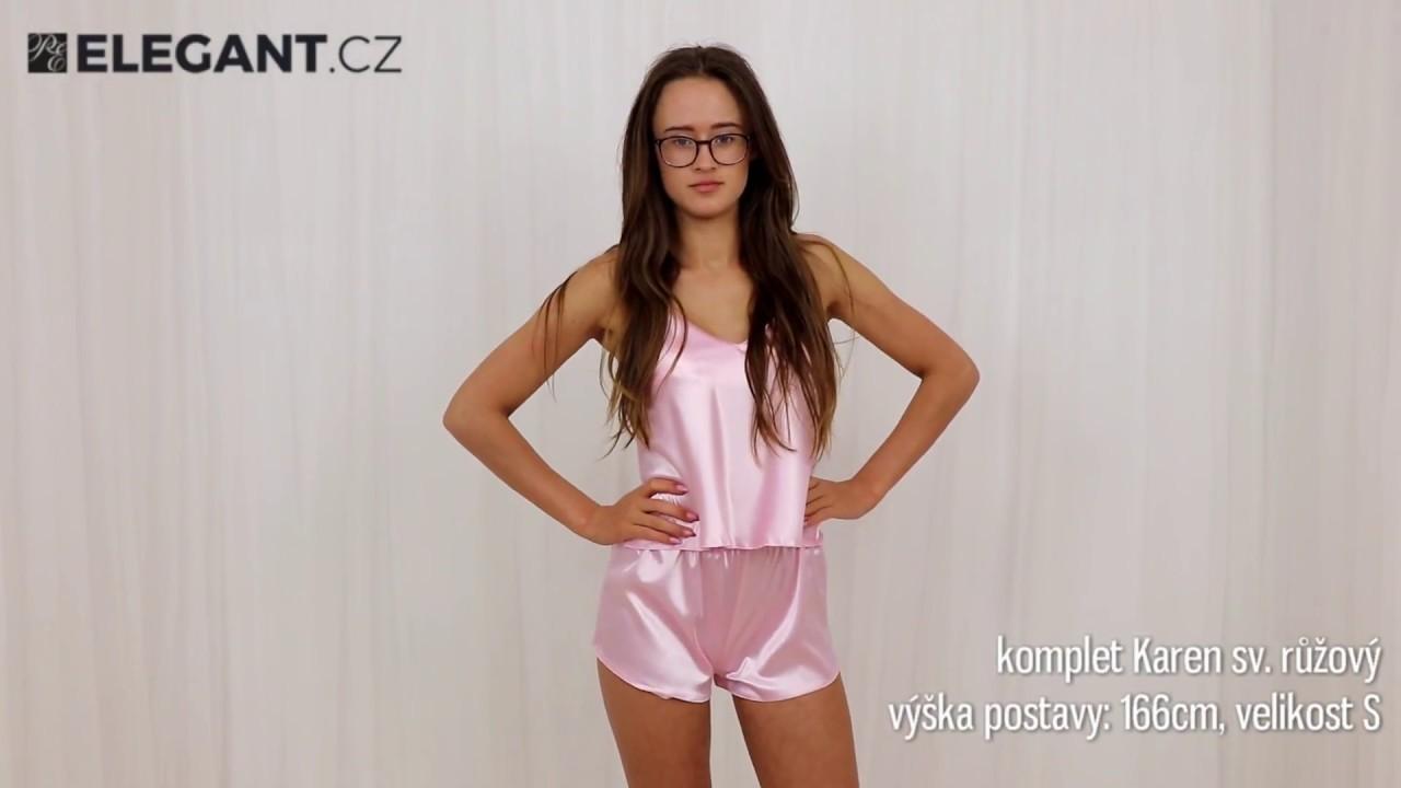 dcbb493228e Dkaren saténové pyžamo Karen světle růžové - YouTube