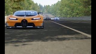 Batlle Bugatti Vision GT vs Supercars at Circuit de La Sarthe