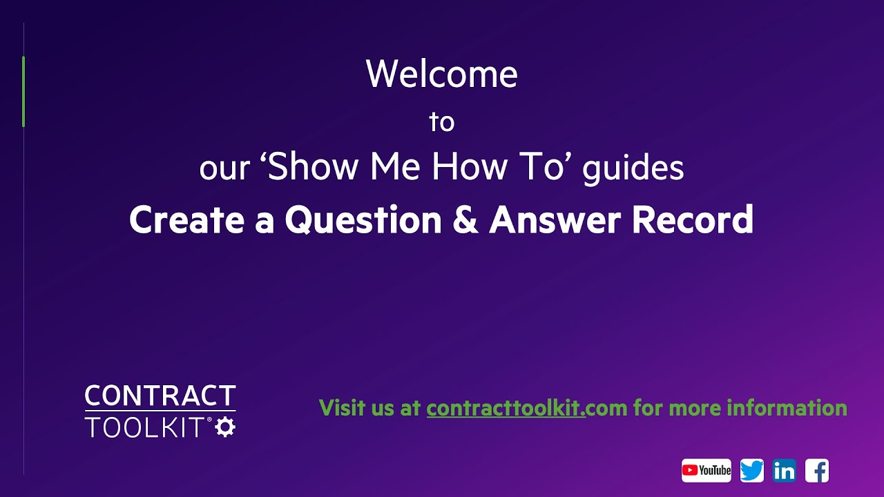 Create a Question and Answer Record in Contract Toolkit ...