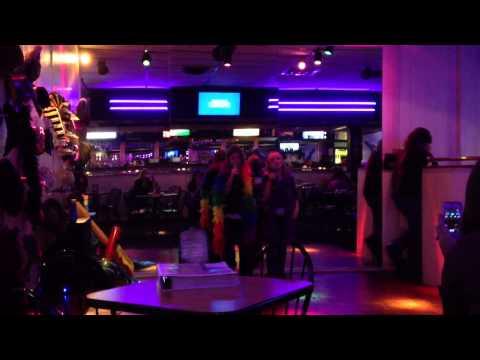 Faith and Sydney singing karaoke