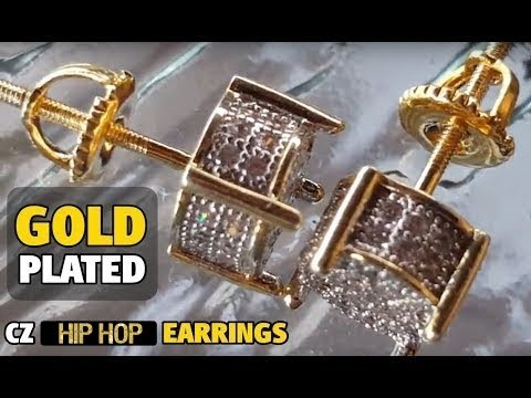 17cf5670c Mens Micropave Iced-Out CZ Round 8MM Bling Screw Back Hip Hop EarringsDazzling  gold plated two tone CZ earrings set. Stylish round micropave earrings for  ...