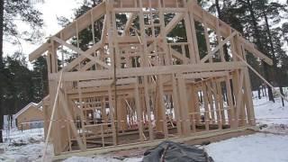 Как построить каркасный дом. Круговой обзор только что установленного каркасника.